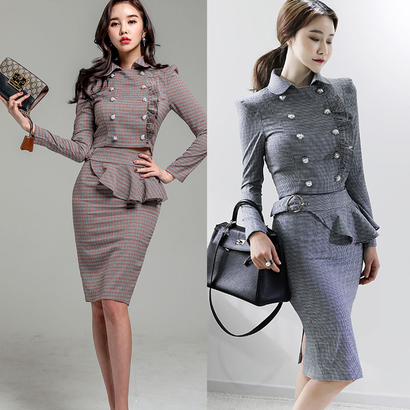 New autumn 2018 Korean fashion double breasted coat crop top & skirt suit OL vogue lady ruffles outfit design