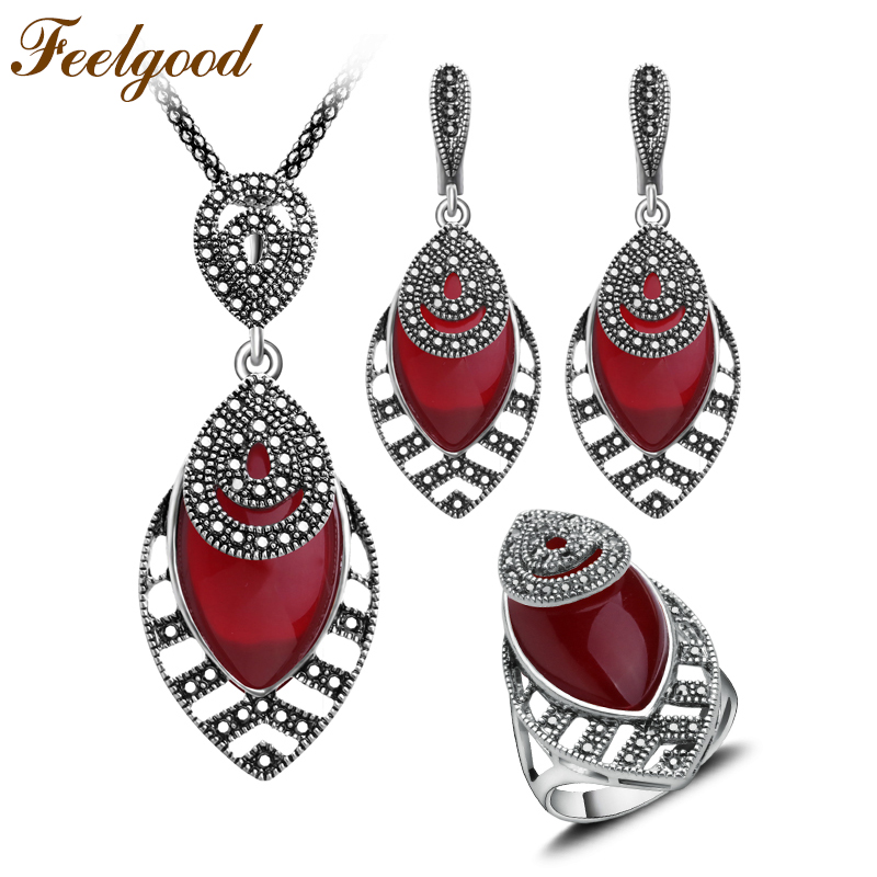 Feelgood Vintage Silver Color Antique Jewellery Sets Red Resin And Black Crystal Water Drop Fashion Jewelry Set For Women Gift vintage faux crystal water drop sweater chain jewelry for women