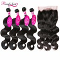 Brazilian Body Wave With 360 Lace Frontal 4 Bundles Brazilian Virgin Hair With Frontal Closure Body Wave Brazilian Hair Bundles