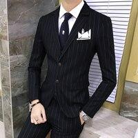 3 предмета для мужчин s костюм с брюки для девочек жилет твид полосатый дизайнерский смокинг китайский Ретро Нарядные Костюмы свадьбы