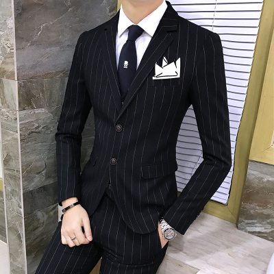 c9e65c1c1df 3 Piece Mens Suit With Pants Vest Tweed Striped Designer Tuxedo Chinese  Retro Wedding Suits for