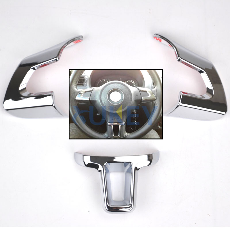FIT FOR VW TOURAN CADDY EOS 2011-2014 STEERING WHEEL CHROME INSERT TRIM COVER