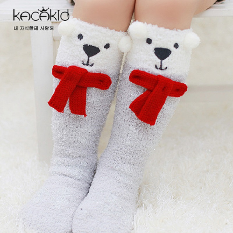 Kacakid New Cute Cartoon Baby Sleeping Socks Children Antiskid Socks Winter Infant Gift Socks Baby Coral Velvet Non-slip Socks