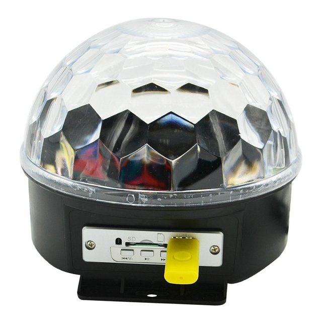 Bluetooth Mp3 player Sound active RGB led rotating crystal magic ball lamp stage light with U Disk for KTV DJ Party play.