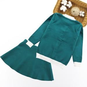 Image 2 - Winter Girls Sweater Clothing Set Kids Warm Knitwear Sweater & Skirt 2 Pieces Dress Suit Teenage Kids Overall Winter Girls