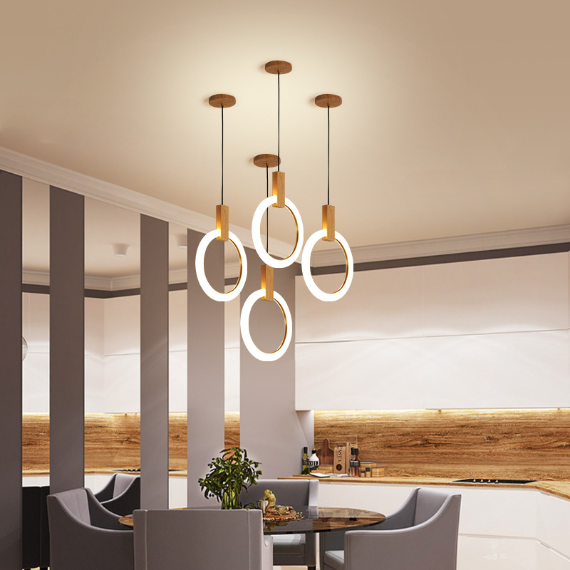 LukLoy Nordic Chandelier Simple Creative Ring Solid Wood LED Pendant Bedroom Lamp Duplex Building Villa Stairwell Long Light