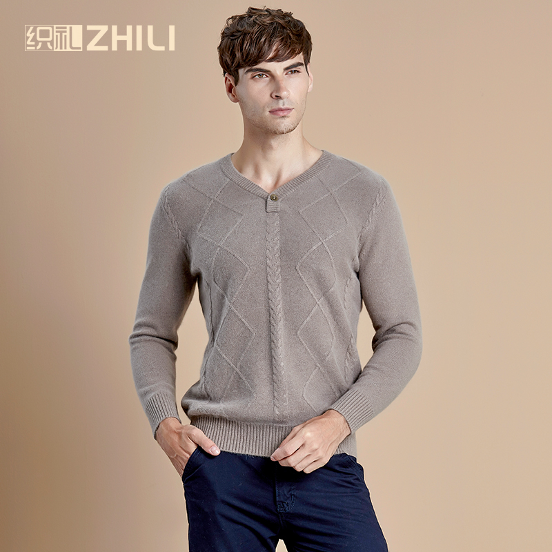 THICK! Basic Clothing Men's 100% Cashmere Knitted Sweater V-neck Solid Color Men Pullovers Male Flat-knit Autumn Winter
