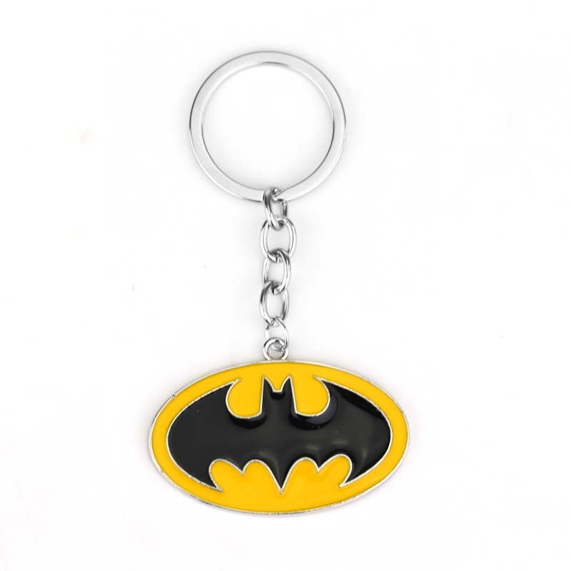 MQCHUN Batman Black Yellow Enamel Metal Keychain Fashion Movie Jewelry DC Comics Superman Keyring Key Chain Alloy Key Ring image