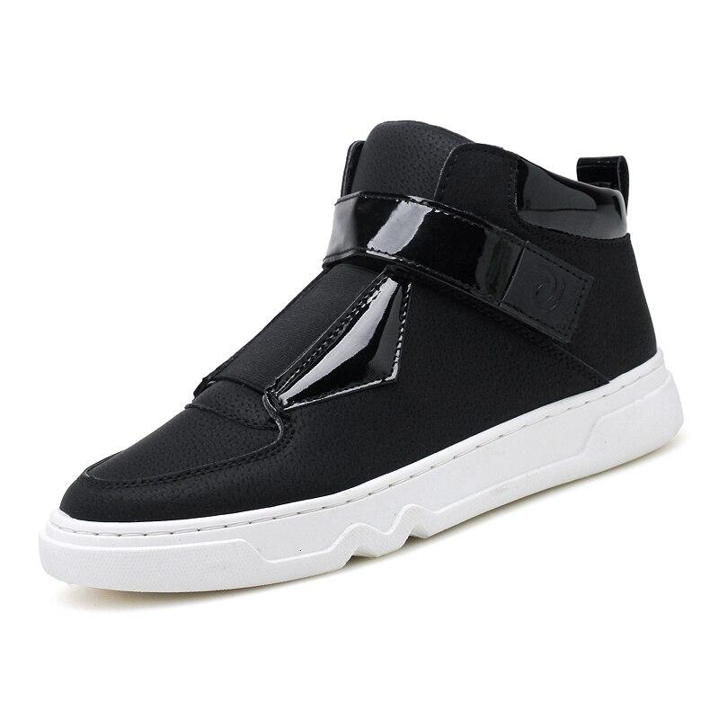 Sneakers Hommes Mode D'été Suture Respirant on High Cuir Noir Top Casual Marque Appartements Chaussures Adulte Slip blanc Pu Mâle Mocassins En 2018 wwHrq4