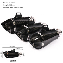 Real Carbon Fiber Motorcycle Silencer System Modified 475mm Exhaust Muffler Pipe For 38-51mm ATV Mountain bike Scooter