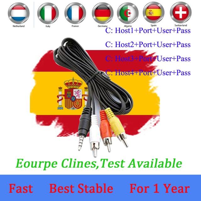 ספרד קולט Cccams קווים עבור 1 שנה ספרד משמש freesat v7 DVB-S2 CCcam קליין לווין מקלט אירופה ערוצים 7 קווים