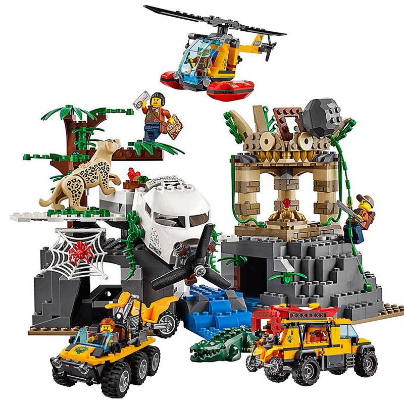 City Series Jungle Exploration Site Aircraft Disaster Building Blocks 1468pcs Bricks Toys Compatible With Legoings 60161