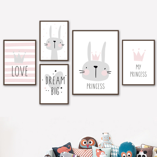 My Princess Rabbit Dream Bunny Nursery Prints Nordic Poster Wall Art Canvas Painting Pictures