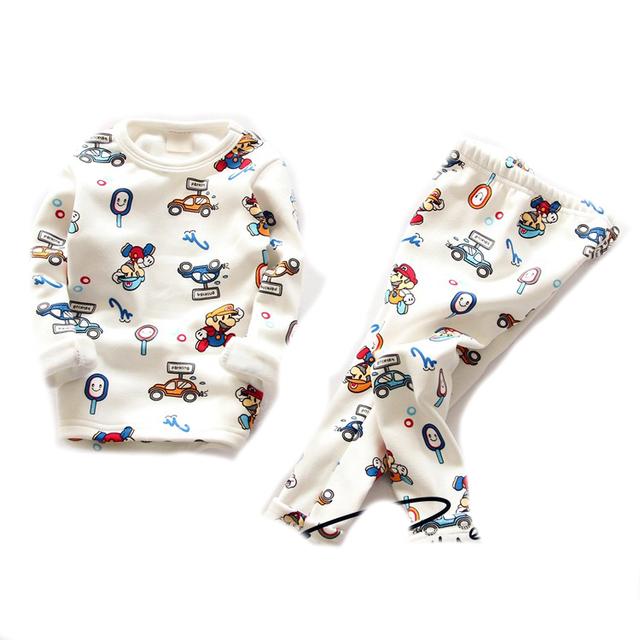 Crianças pijamas 2016 Meninos pijamas de inverno de pele roupa do natal do bebê pijamas de manga longa sleepwear para meninas quentes