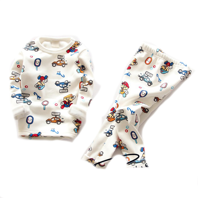 kids pajamas 2016 Boys winter pyjamas  fur long sleeve sleepwear  for girls warm pajamas christmas baby nightwear