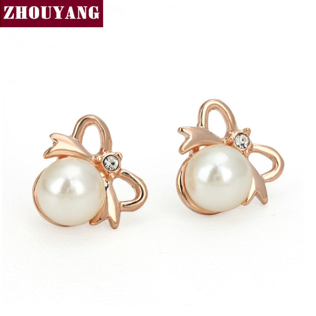 ZHOUYANG Top Quality Bowknot Imitation Pearl Stud Earrings Rose Gold