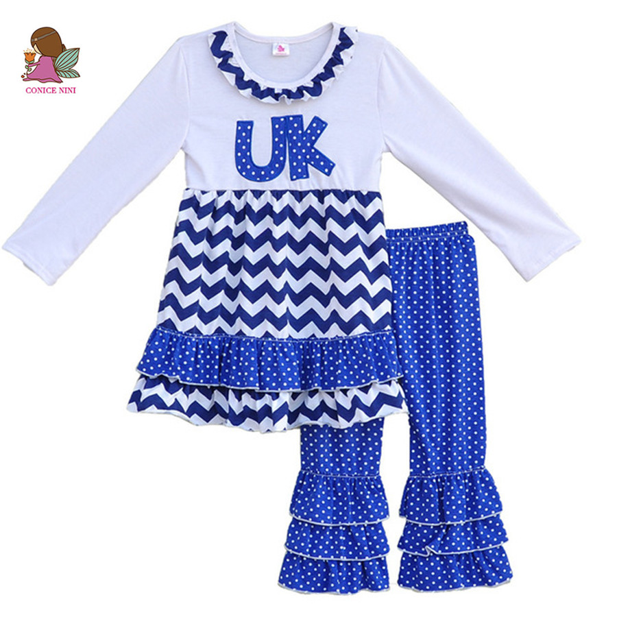 Factory Selling Girls Spring Boutique Clothing Round Neck UK Letter Pullover Tops Ruffle Leggings Kids Outfits Clothes Sets F062 цены онлайн