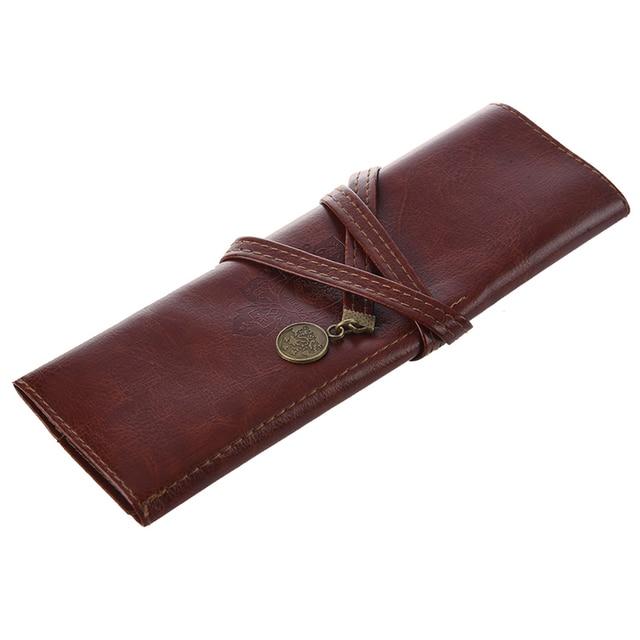 1 pc Case PU Leather Pen Pencil Case Pencil Bag Cosmetic Brush Bag