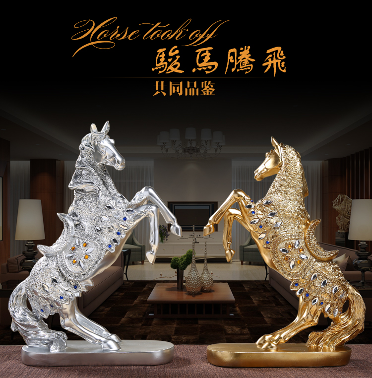 37cm LARGE TOP business office efficacious FENG SHUI Talisman Protection Money Drawing GOLD HORSE ART Sculpture statue