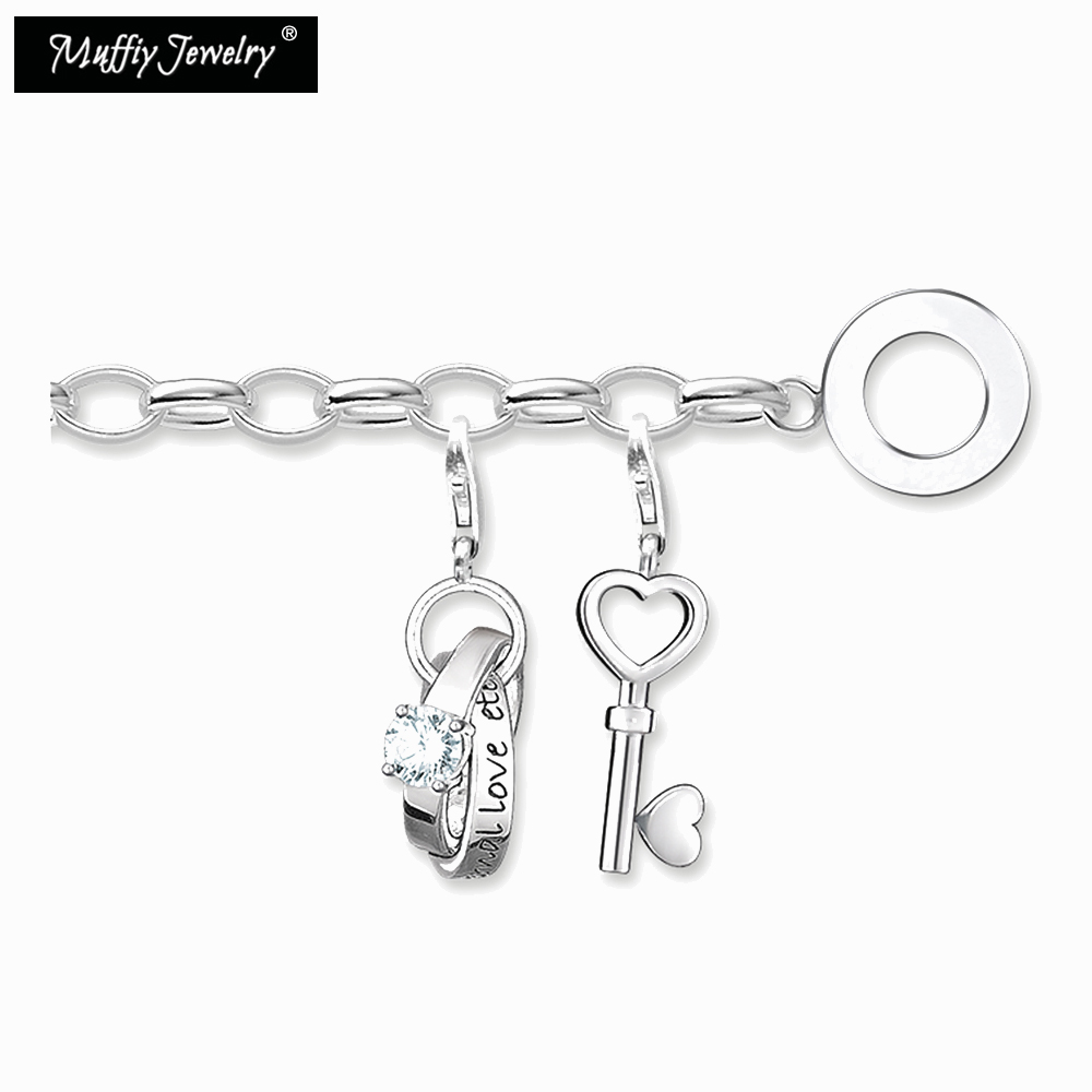Love Key Charm Bracelets,2018 925 Sterling Silver Trendy Gift for Women,Europe Style Glam Jewelry,Fashion Jewelry Acessories