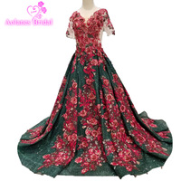 Emerald Green Red Lace flowers Prom Dress Glitters Prom Gown 2019 New Design Fashion Evening Party Gown Arabic
