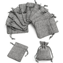 50pcs 7x9cm Grey Burlap Bags Jute Hessian Drawstring Sack Small Wedding Favor Jute Gift Jewelry Packaging Pouch Jewelry Display aquapac 046 small stormproof pouch grey