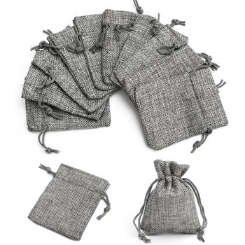 50pcs 7x9cm Grey Burlap Bags Jute Hessian Drawstring Sack Small Wedding Favor Jute Gift Jewelry Packaging Pouch Jewelry Display
