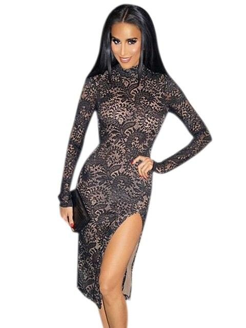 31c6d7fb9d9 Turtleneck Open Back Long Sleeve Black Floral Lace Bodycon Vintage Midi  Dress Women Sexy Side Slit Dress Vestido Vintage 60666