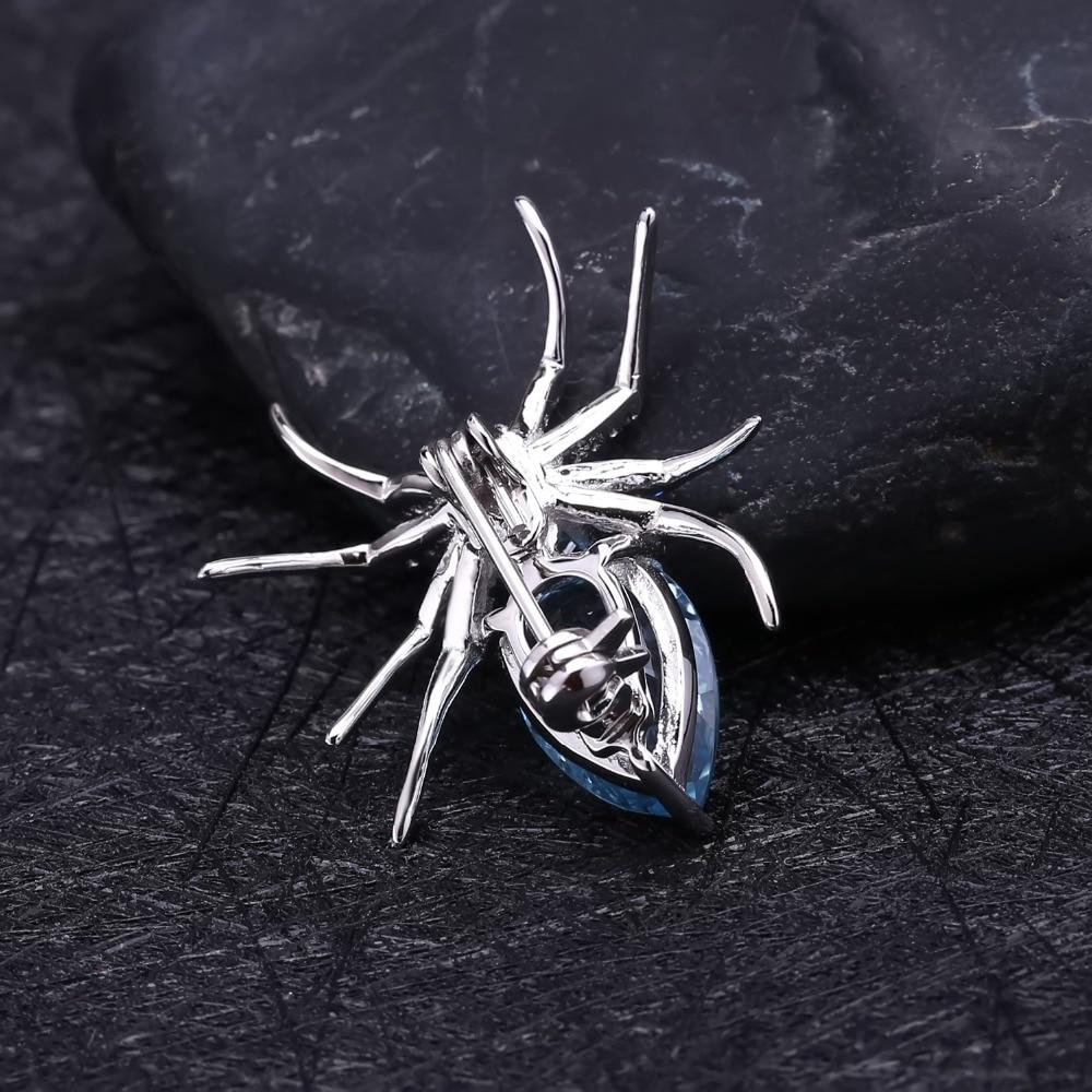 GEM'S BALLET 5.9Ct Natural Sky Blue Topaz Spider Fine Jewelry 925 Sterling Sliver Brooches For Women Dresses Brooch Vintage-3