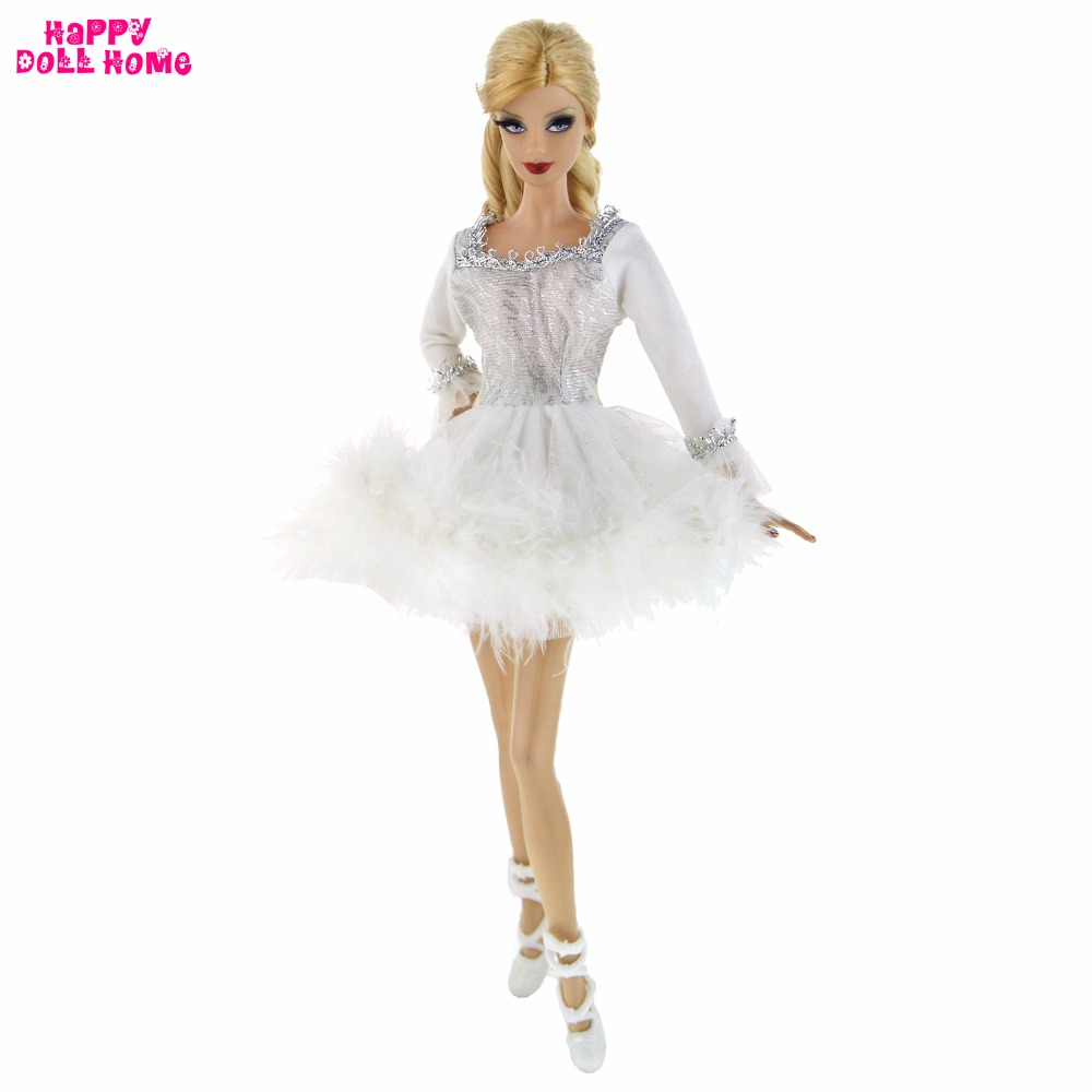 15e207393ea6 Handmade Dancing Costume White Ballet Dress Silver Edge Lace Plush ...