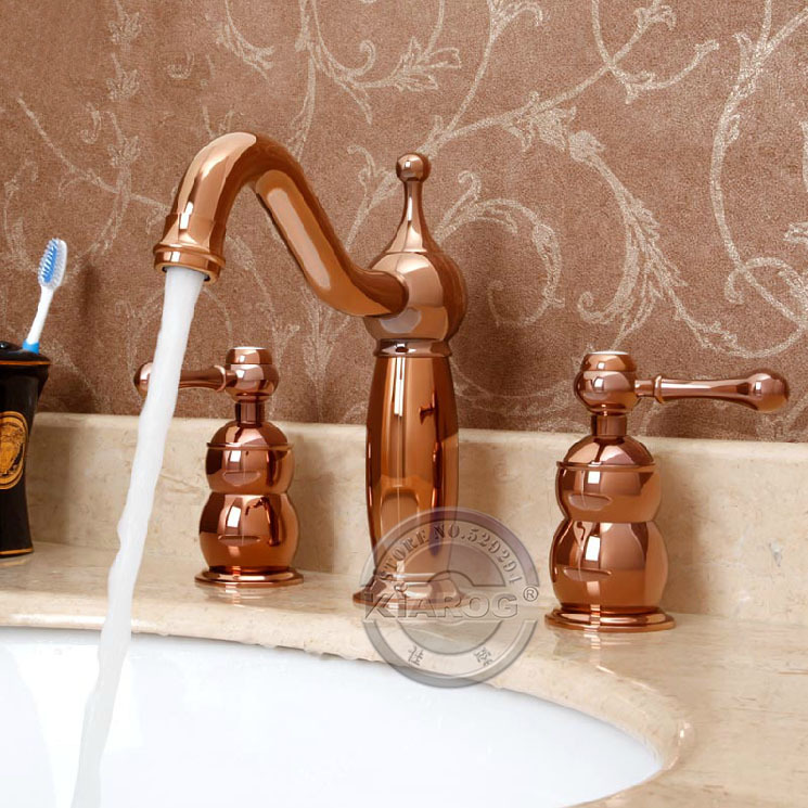 Bathroom Basin Dual Handle Faucet Rose Gold Double 3 Hole Mixer Tap Gy 8360 In Faucets From Home Improvement On