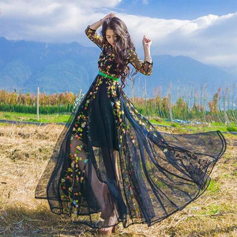 Robes de soirée vestido broderie Floral piste bohème fleur brodé robe Boho robes pour femmes Vintage maxi robe