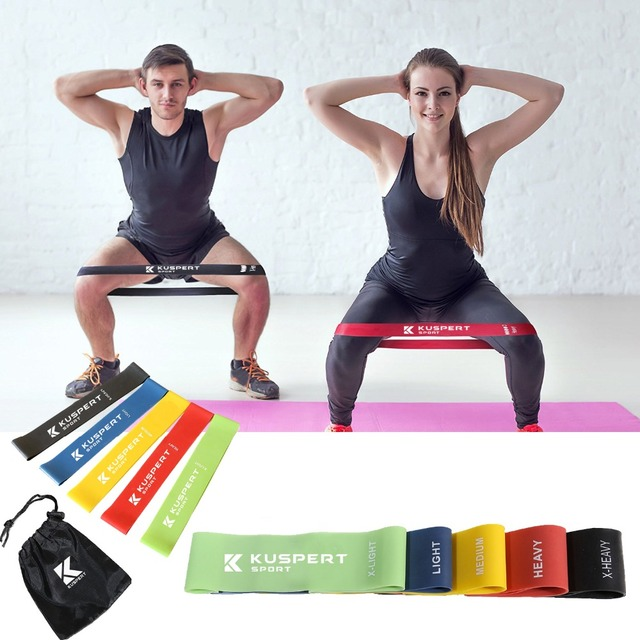 d25ca651f5dc Kuspert Resistance Loop Exercise 5 Bands Set Levels Available Latex Bands  Home Fitness Exercise Bands for Workout Equipment