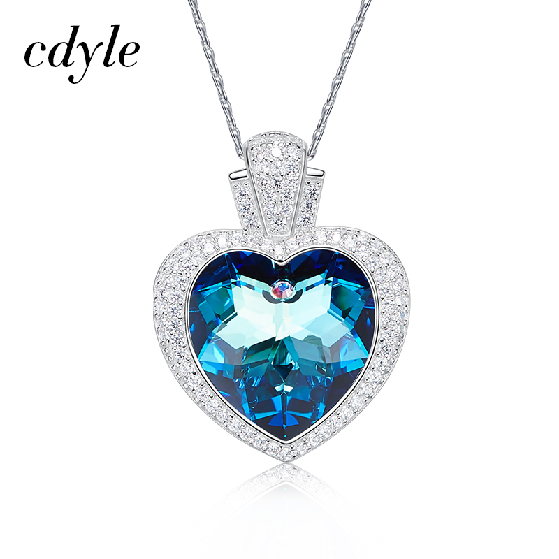Cdyle Crystals from Swarovski Fashion Blue Light Jewelry Chic Pendants Women Necklaces Purple Blue Heart Shaped Rhinestone New все цены