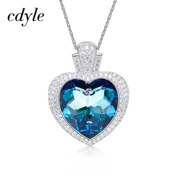 Cdyle ozdobione kryształ wisiorek naszyjnik kobiety naszyjniki fioletowy niebieski w kształcie serca w kształcie serca Rhinestone nowy