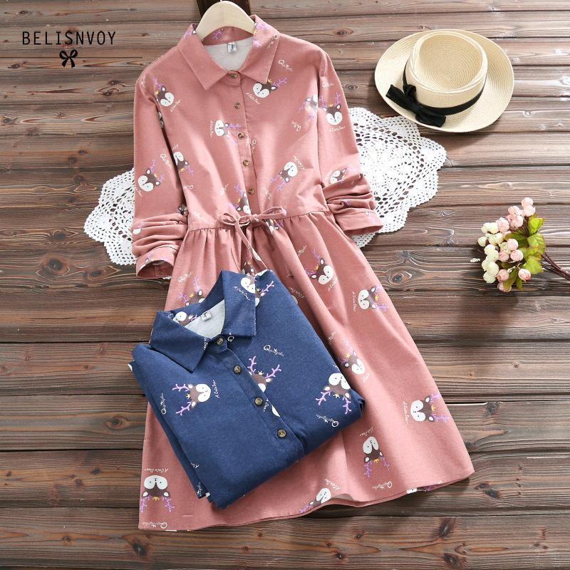 2019 Spring Autumn Femininos Sweet Vestidos Women Long Sleeve Kawaii Fox Print Cotton Dresses Womens Casual Clothes Plus Size