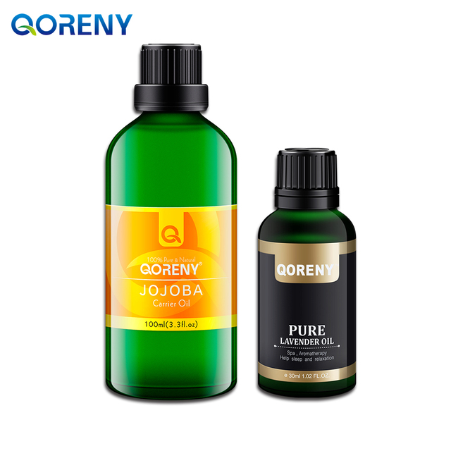 Jojoba oil 100ML + lavender essential oil 30ML; 100% Pure & Therapeutic Grade for Relaxation, Sleep.  Base Oil & Essential Oil