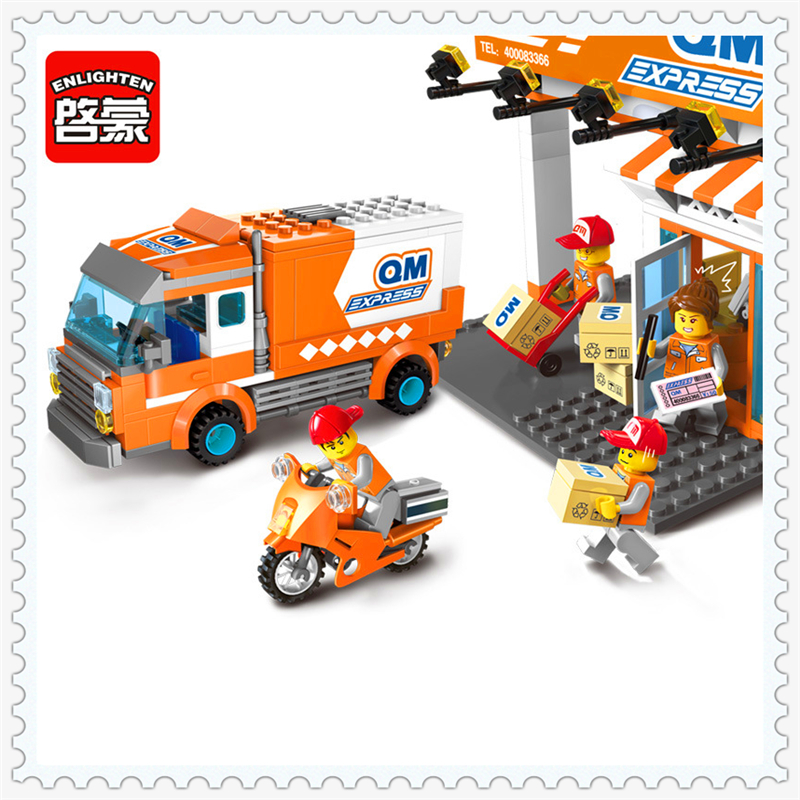 ENLIGHTEN 1119 City Series Express Base Car Model Building Block 337Pcs Educational  Toys For Children Compatible Legoe 2017 enlighten city series garbage truck car building block sets bricks toys gift for children compatible with lepin
