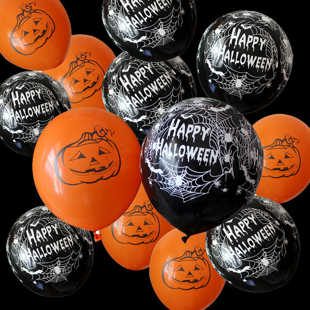 10pcs 12 Inch Latex Balloons Spider Web Pumpkin Horror Halloween Decoration