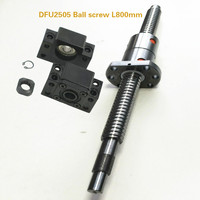 1 pcs DFU2505 Ball screw L800mm Ballscrews end machining for BKBF20 + a double nut+BKBF20
