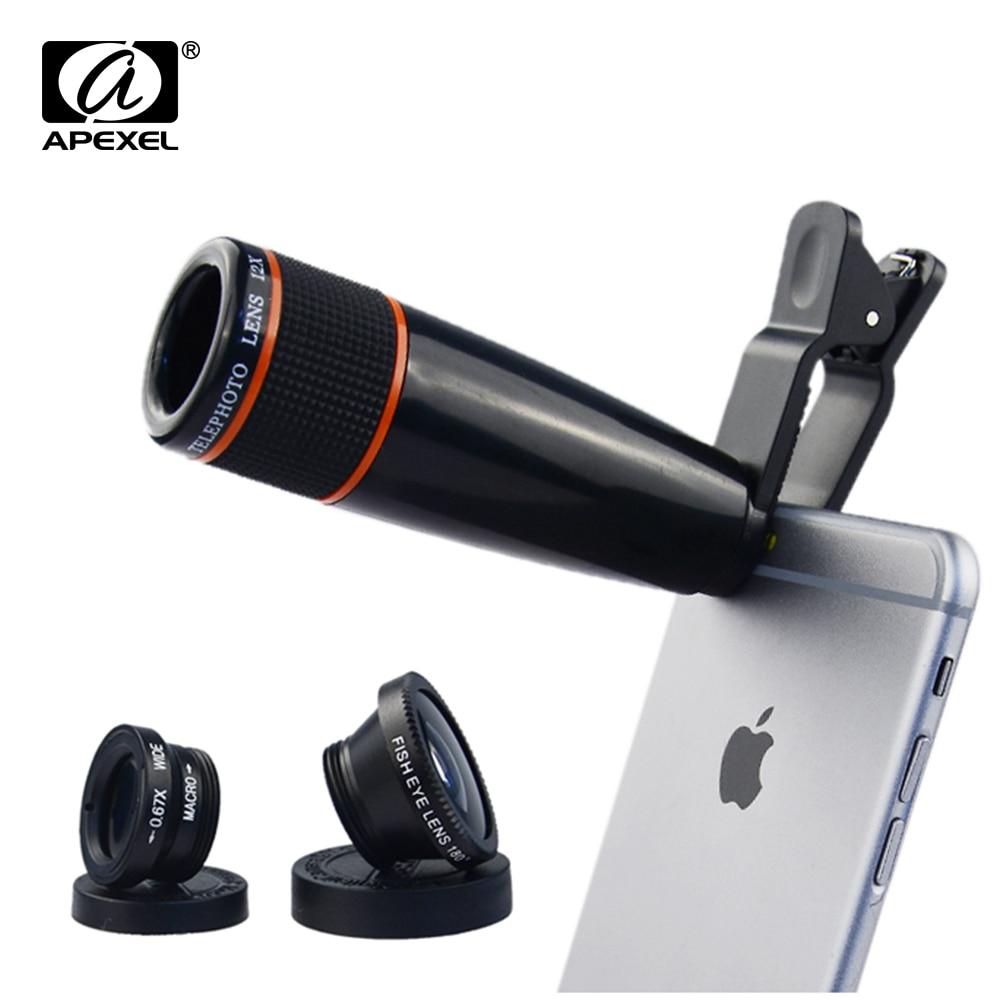 imágenes para 4 en 1 universal clip de la Lente de la cámara Kit 12 8xtelephoto Lente Gran angular y macro + ojo de pez lente ojo de pez para iphone samsung htc 12X85