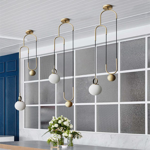 Image 1 - Retro Loft Restaurant Lift Lighting Industrial Creative Pulley Hanging Light Dining Room BAR Kitchen Designer Led Lights