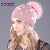 Boapt Dyeing Natural Raccoon Fur Fluffy Pompon Hats For Women S Winter Female Skullies Beanies