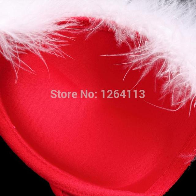 Red Color  Feathers+Bead Piece Women  Bra  Set