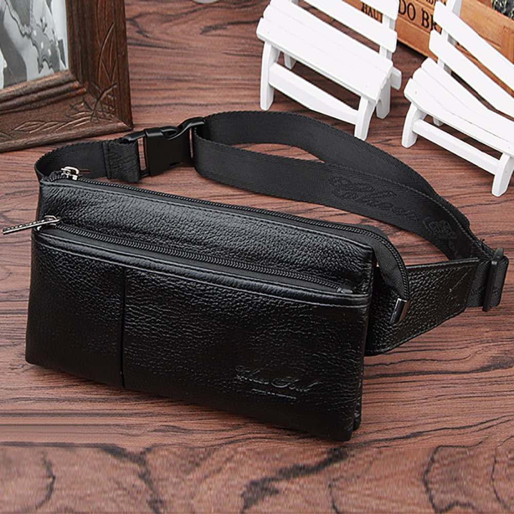 Real Genuine Leather Men Fanny Waist Bag Fashion Purse Pocket Mobile Phone Case Hip Belt Bags Male Cowhide Sling Chest Day Pack