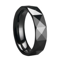 8MM Black Ceramic Ring Comfort Fit Wedding Band Ring For Men Vintage Jewelry Gift