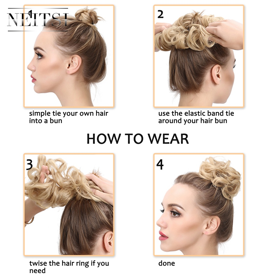 Neitsi Women Curly Chignon Hair Bun for Brides Synthetic High Extensions Ponytail Hair Bundles Hairpieces Hair Buns 2 in Braid Maintenance from Beauty Health