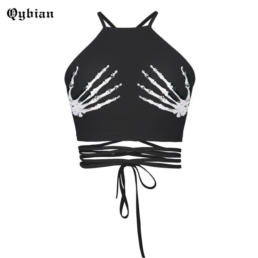 Otoño nuevo punk Ghost mano impresión Halter bustier crop top mujeres backless Tank tops sexy Beach wear