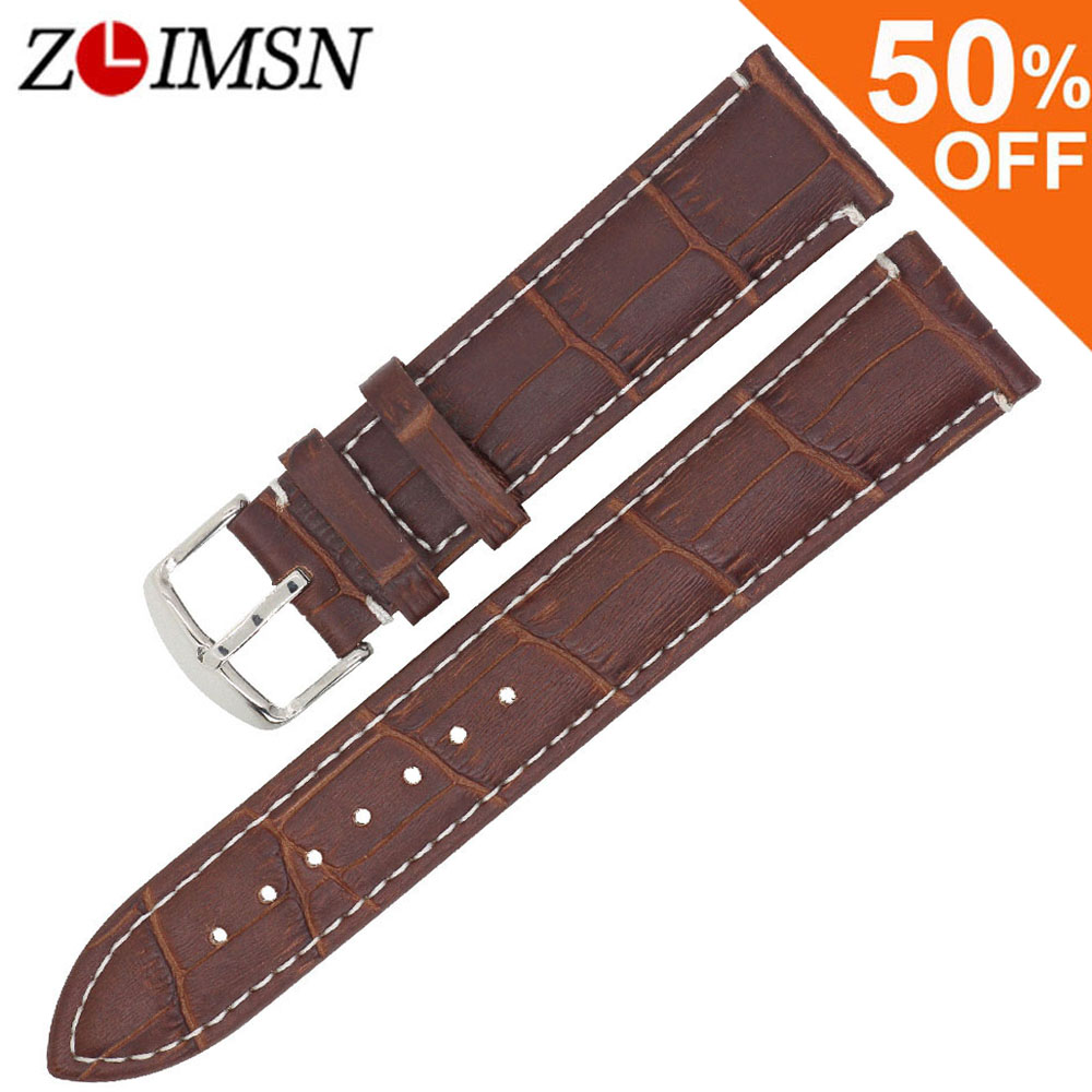 ZLIMSN 100% Genuine Leather Watchband 18 20 22 24mm Watch Straps Bamboo Pattern White stitch Black Brown Bracelet Replacement