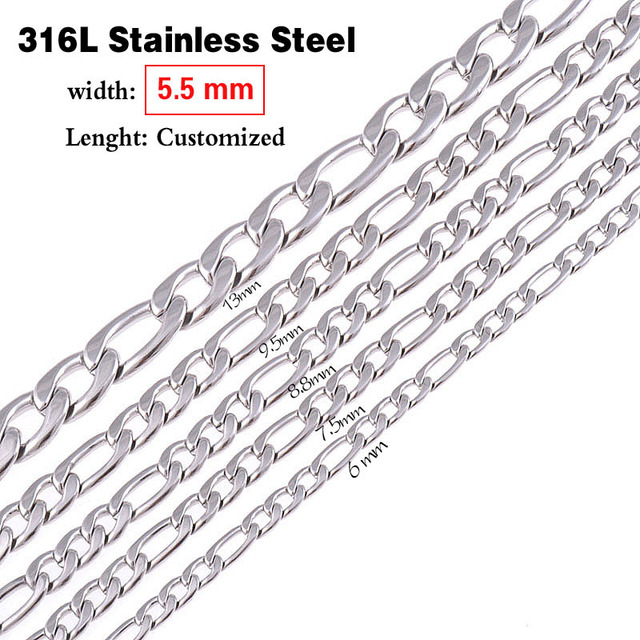 Never Fade 5.5mm(width) Stainless Steel Necklace Men Curb Link Figaro Chain High Quality